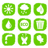 Green ecological icons set Stock Images