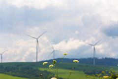 Green ecological power energy generation. Wind turbines on beautiful sunny summer autumn mountain landsape. Green ecological power energy generation. Wind farm stock images