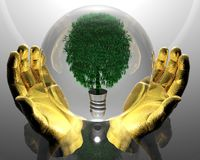 Green ecological tree in glass orb. And golden hands on grey background Royalty Free Stock Photo