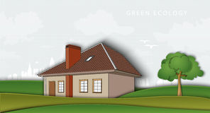 Green ecology. air without pollution. house in the Stock Images