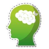 Green ecology brain icon image Royalty Free Stock Photo