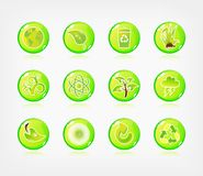 Green ecology button Stock Images