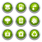 Green ecology buttons Stock Photos