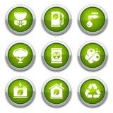 Green ecology buttons Stock Photos