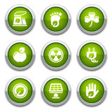 Green ecology buttons. Green shiny environmental buttons for design Stock Photography