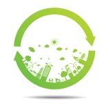 Green ecology City environmentally friendly . Friendly vector ecologic nature icon Royalty Free Stock Image