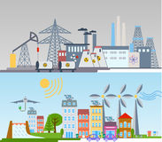 Green ecology city infographics background and elements. Solar cell wind energy. Royalty Free Stock Image