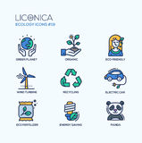 Green Ecology - coloured modern single line icons set Stock Images