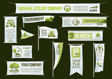 Green ecology company vector advertising icons set Royalty Free Stock Photography