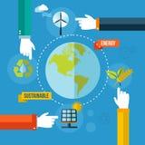Green ecology concept flat illustration Stock Image