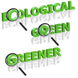 Green ecology ecological magnify glass concept Royalty Free Stock Images