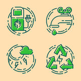 Green ecology energy conservation icons and outline style ecological world power vector illustration. Stock Images