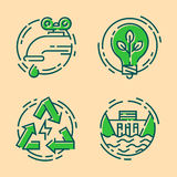 Green ecology energy conservation icons and outline style ecological world power vector illustration. Royalty Free Stock Photos