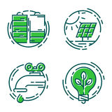 Green ecology energy conservation icons and outline style ecological world power vector illustration. Stock Photo