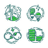 Green ecology energy conservation icons and outline style ecological world power vector illustration. Royalty Free Stock Photography
