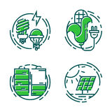 Green ecology energy conservation icons and outline style ecological world power vector illustration. Stock Photos