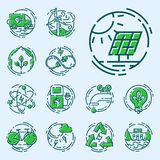 Green ecology energy conservation icons and outline style ecological world power vector illustration. Stock Image