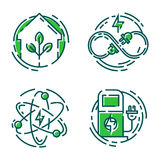 Green ecology energy conservation icons and outline style ecological world power vector illustration. Stock Photography