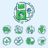 Green ecology energy conservation icons and outline style ecological world power vector illustration. Royalty Free Stock Image