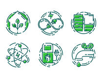 Green ecology energy conservation icons and outline style ecological world power vector illustration. Royalty Free Stock Images