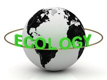 Green ecology on a gold ring around the earth Stock Photos