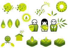 Green ecology icon set Royalty Free Stock Image
