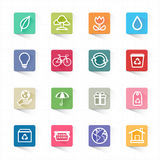 Green ecology icon set and white background. This image is a vector illustration Royalty Free Stock Photography