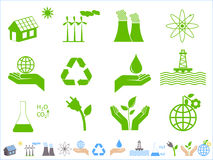 Green ecology icons. Earth conservation and ecology icon set Stock Photo