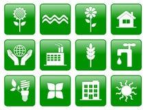 Green ecology icons royalty free illustration