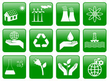 Green ecology icons. Earth conservation and ecology icon set Stock Image