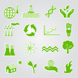 Green ecology icons. Earth conservation and ecology icon set Stock Photography