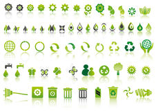 Green ecology icons. Set of mixed green ecology icons to respect the environment Royalty Free Stock Photo