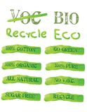 Green Ecology Icons and labels. A set of green concept icons with environmental approach Stock Photography