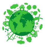 Green ecology icons over planet Stock Images
