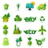Green Ecology Icons Set. Green ecology and alternative energy with leafs icons set isolated vector illustration stock illustration