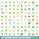 100 green and ecology icons set, cartoon style Royalty Free Stock Images