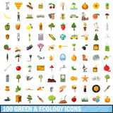 100 green ecology icons set, cartoon style. 100 green ecology icons set in cartoon style for any design vector illustration Royalty Free Stock Image