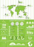 Green ecology info graphics. Collection, charts, world map, graphic vector elements Royalty Free Stock Images