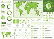 Green ecology info graphics. Collection, charts, world map, graphic vector elements Stock Image