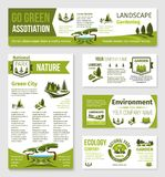 Vector templates for green eco environment company. Green ecology and landscape gardening association or company posters and banners templates. Vector set of Stock Photography