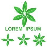 Green ecology leaves logo design set. Green ecology leaves logo icon design set Stock Photos