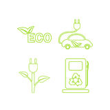 Green ecology linear icons set. Vector Royalty Free Stock Photography