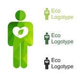Green ecology logo or icon, nature logotype of hum Royalty Free Stock Image