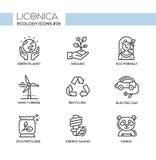 Green Ecology - monochromatic modern single line icons set Royalty Free Stock Photos