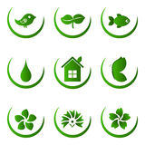 Green ecology and nature icons set Royalty Free Stock Photography