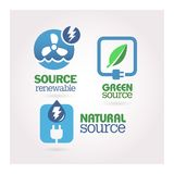 Green - Ecology - Power icon set Royalty Free Stock Image