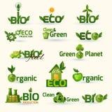 Green Ecology Text Icons Set Royalty Free Stock Photo
