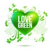Green ecology theme illustration with 3d heart and drawing elements stock illustration