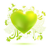 Green ecology theme illustration with heart stock illustration