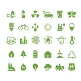 Green ecology vector icons. Clean environment, recycling process and renewable energy pictograms Royalty Free Stock Images